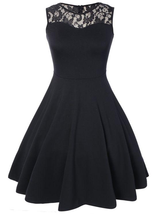 Black Sleeveless Lace Top A Line Flare Dress  vintage  Pinterest ...
