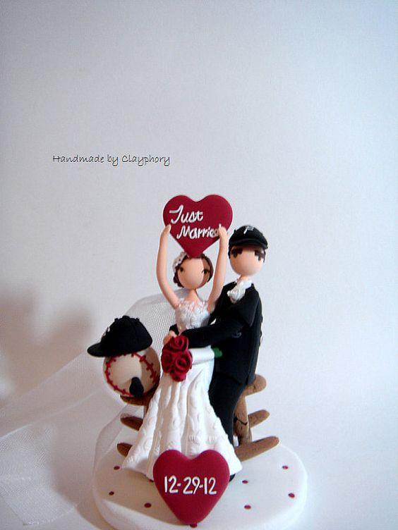 On the Winning Team Favorite Sports Team customized Wedding Cake Topper