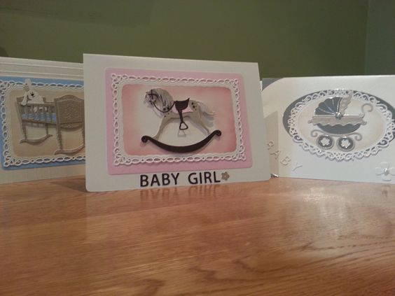 A selection of handmade baby cards using Cottage Cutz and Spellbinder dies