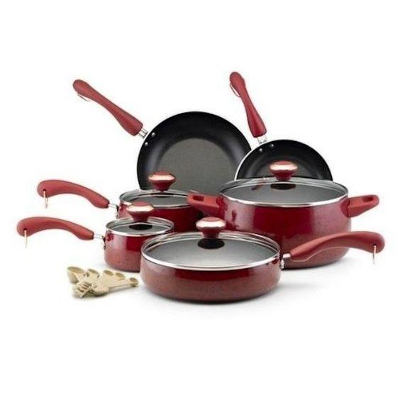 New! 15 Piece Porcelain Cook Set KitchenPots Pans Lids Glass Red Kitchen Cook