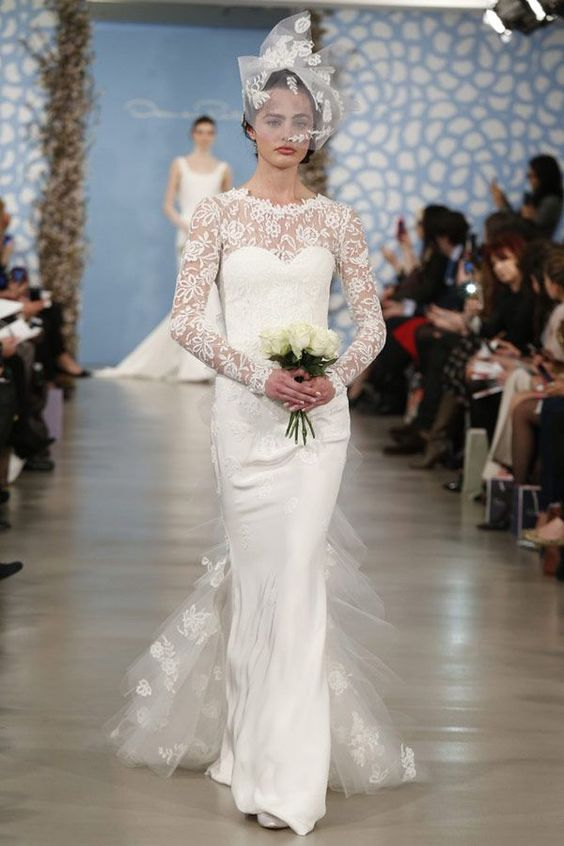 oscar de la renta 2014 bridal long sleeve wedding dress,oscar de la renta wedding dresses: