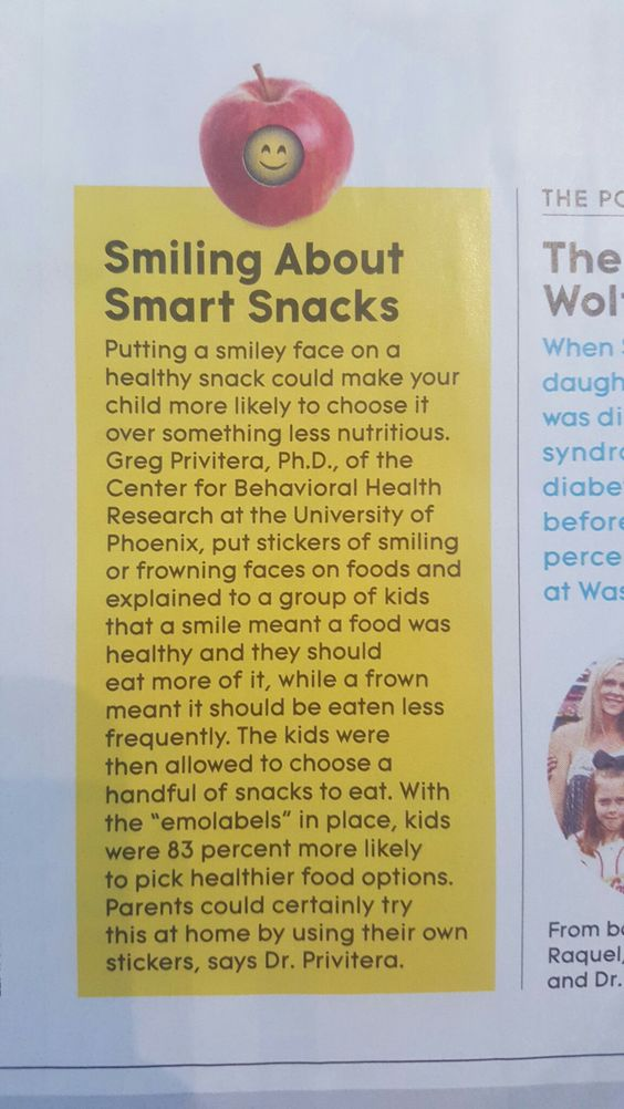 Smiling about smart snacks info from Parents Magazine July 2016