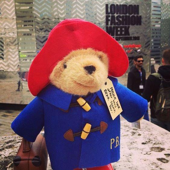 London icon, Paddington Bear is enjoying a final day of sartorial fun at Somerset House #LFW