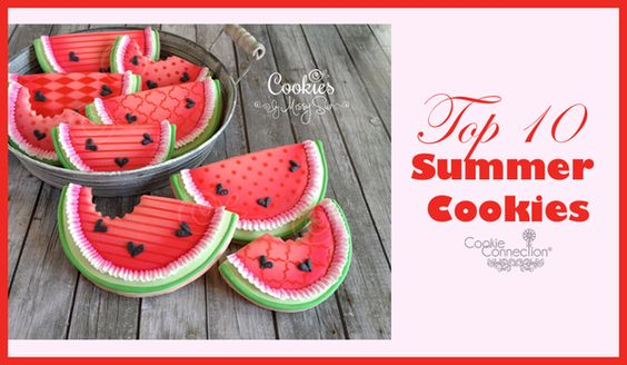 #COOKIE CONNECTION ALERT: This week's Saturday Spotlight showcases the hottest summer cookies on the site. Cookies pictured by Cookies by Missy Sue. What a novel take on the ol' watermelon slice! http://cookieconnection.juliausher.com/blog/saturday-spotlight-top-10-summer-cookies-redux