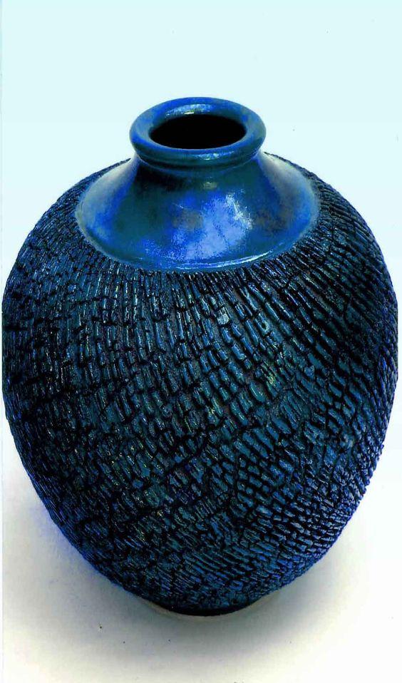 M.Wein Blue copper/cobalt glazed stoneware