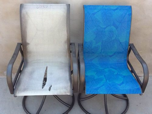 Love The Blue Color Sling Chair Repair Patio King Az Mi