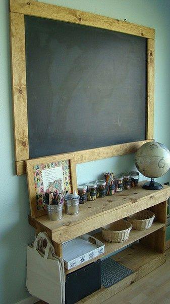 Wunderschöne Kreidetafel fürs Kinerzimmer aus Holz - Framed that chalkboard. looks like a waldorf class room.