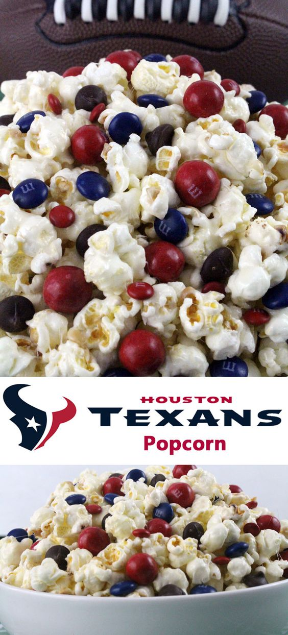 Houston Texans Popcorn for those Houston Texans fans in your life. Sweet, salty, crunchy and delicious and it is extremely easy to make. This delicious popcorn will be perfect at your next game day football party. a NFL playoff party or a Super Bowl party. Follow us for more fun Super Bowl Food Ideas.