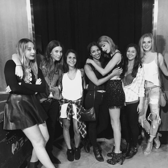 Taylor with Haim and fans backstage after the show in Los Angeles night two 8.22.15