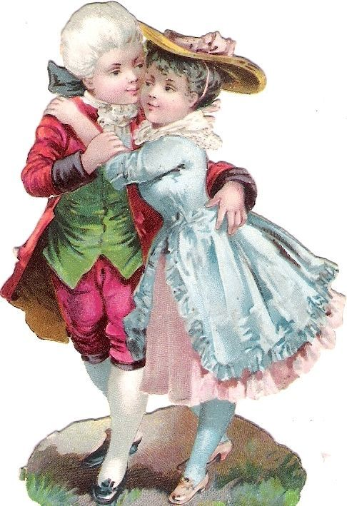 Oblaten Glanzbild scrap die cut chromo Kind child couple Paar girl Mädchen Knabe: