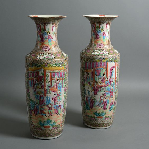 A Large Pair of 19th Century Qing Dynasty Canton Porcelain Vases