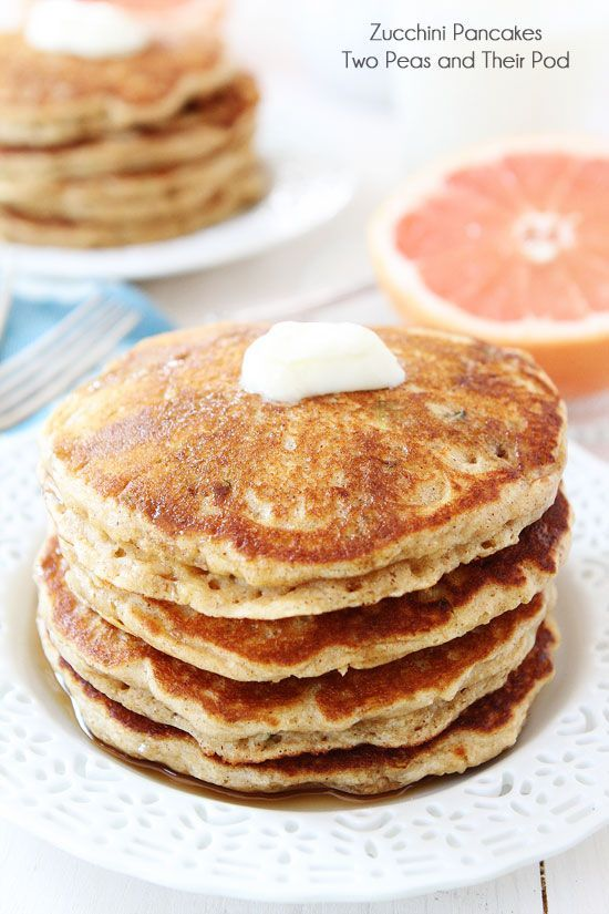 Whole Wheat Zucchini Pancakes Recipe On Twopeasandtheirpo Our Favorite Summer Pancake Recipe Pancakes Zucchini Pancakes Zucchini Pancake Recipe Breakfast