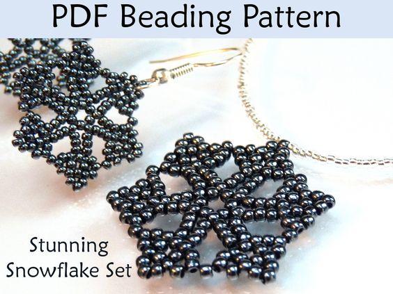 Stunning Snowflake Necklace Earring Set Beading Pattern