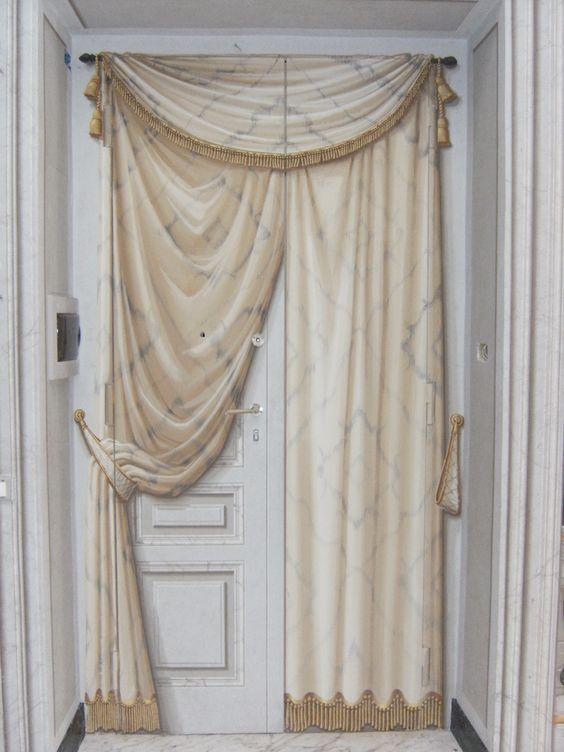 Curtains Ideas curtain paintings : FAUX) False painted door & curtains ~ Decorative Murals & Motifs ...