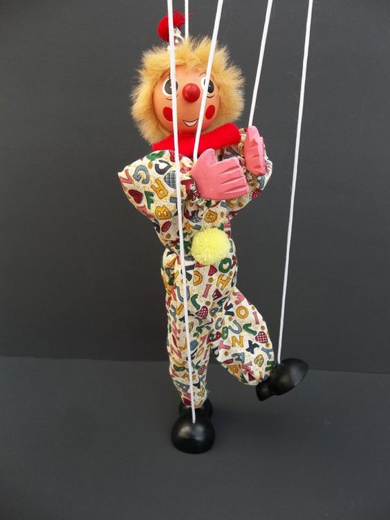 String Puppet Circus Clown Marionette Doll 17 Wood by LotusatNight