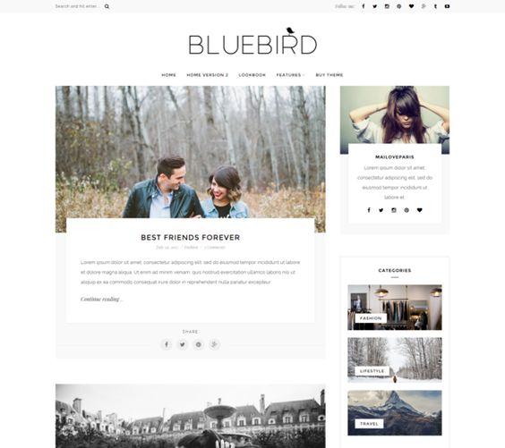 Bluebird - Wordpress blog theme by MaiLoveParis on @creativemarket  Un excellent thème wordpress et une créatrice très sympathique et disponible !