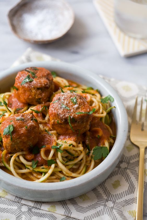 Healthy recipe zucchini and healthy dinners on pinterest for Zucchini noodles and meatballs recipe