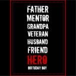 """By their nintieth birthday, some special guys have made a big impact on their world; father, mentor, grandpa, veteran, husband, friend, hero and Birthday boy. Here's the perfect invitation to show you've noticed.    Personalize it by adding the honoree's name, switch some of the words if you like and invite all his admirers to come and toast his big day. Click the """"customize"""" button for full flexibility of sizing, type color and background color."""