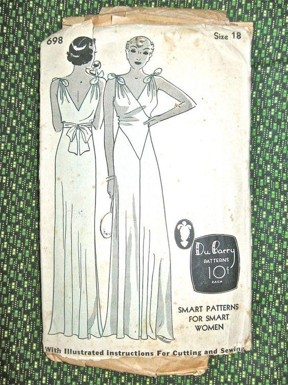 1930s gown pattern | Du Barry  698