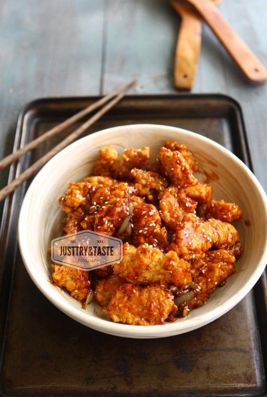 Ayam Goreng Saus Wijen Fried Chicken With Sweet Sesame Sauce Resep Ayam Resep Masakan Resep