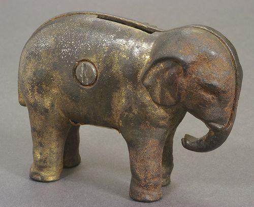 "McKinley-Theodore Roosevelt ""Prosperity"" Metal Elephant Coin Bank, ca. 1900"