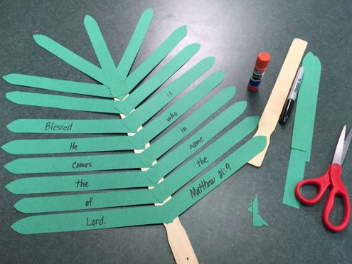 Palm Leaf from Mr. Mark's Classroom on Vimeo.   Create a palm branch in the classroom to use as you tell the story of the Triumphal Entry of Jesus on Palm Sunday. One inch wide green strips for the leaves of the branch One wooden paint stir stick Marker Glue Stick Unwrapped Conference August 5-…