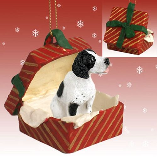 Pointer Black White Dog Red Gift Box Ornament