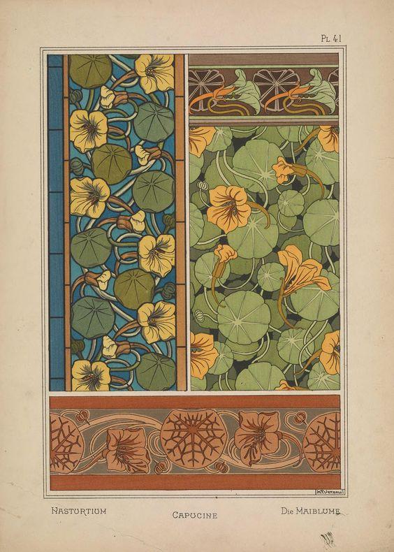 All sizes | Nasturtium - Capucine - Verneuil - Art Nouveau Design - lithograph | Flickr - Photo Sharing!