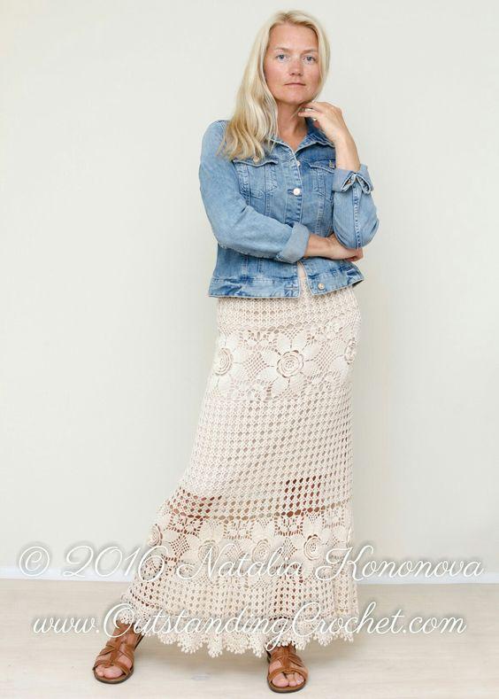 Tiered crochet maxi skirt pattern: http://www.outstandingcrochet.com/tiered-maxi-skirt-crochet-pattern