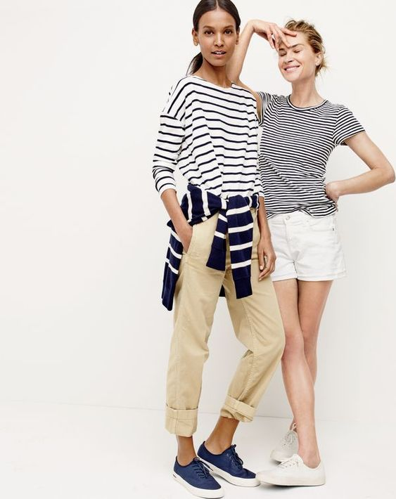 J.Crew women's deck-striped T-shirt, striped crewneck sweater with side snaps, broken-in boyfriend chino and SeaVees® for J.Crew Legend sneakers. J.Crew women's short-sleeve painter T-shirt in stripe, denim short in white and SeaVees® for J.Crew Legend sneakers.:
