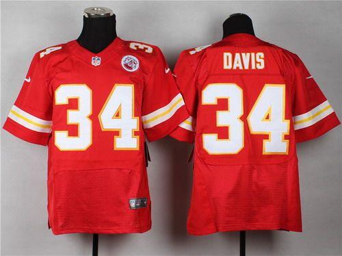 Nike Kansas City Chiefs #34 Knile Davis Red Elite Jersey | NFL ...