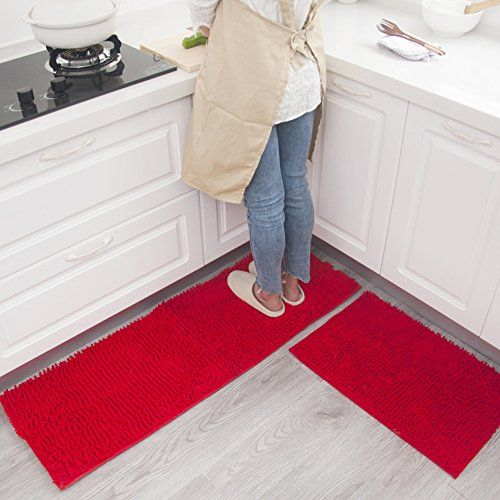 Maxyoyo Kitchen Rug 2 Pieces Set Red Chenille Rug For Kitchen Non Slip Washable Runner Rug Set Kitchen Rug Rugs Kitchen Rugs And Mats Red Kitchen Accessories