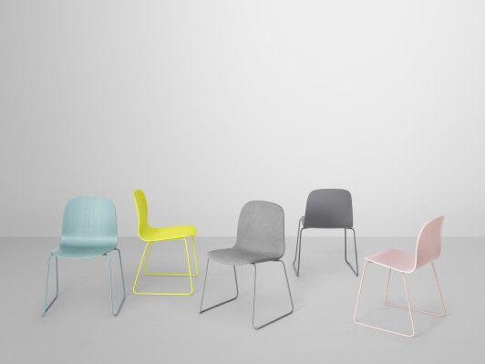 Colourful Visu chairs by Muuto.