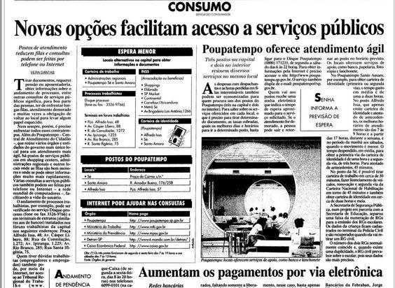 Poupatempo no Estadão em 3 de maio de 1999