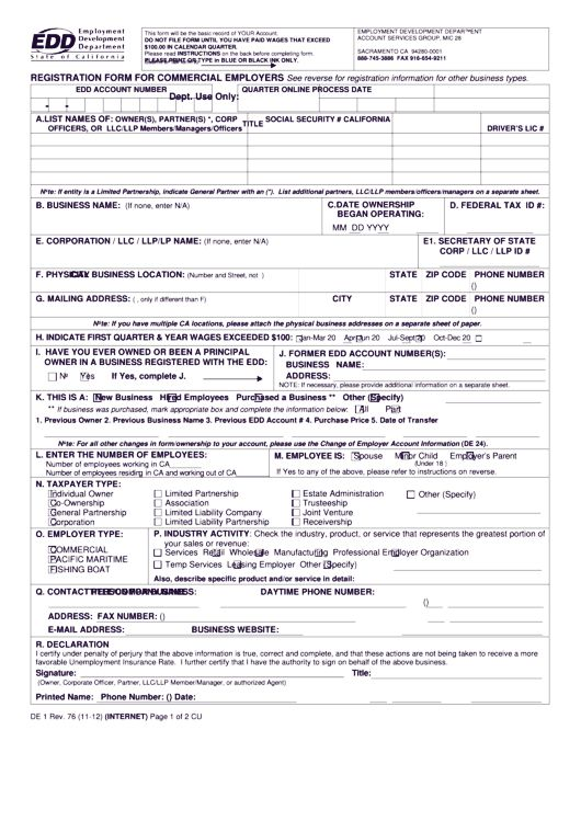 form de 1 | DE 1 (EDD Registration Form for Commercial Employers) in