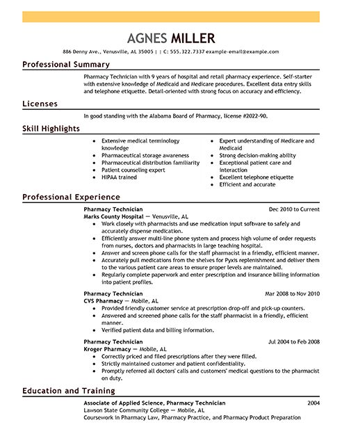 Pharmacy Technician Resume Examples | Medical Sample Resumes