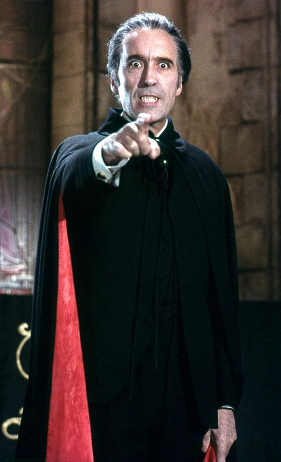 Christopher Lee as Dracula in the Hammer House of Horror films of the 1960s and 70s.  He was great in this role.  These films seem a bit lame now, but I found them pretty frightening as a kid.