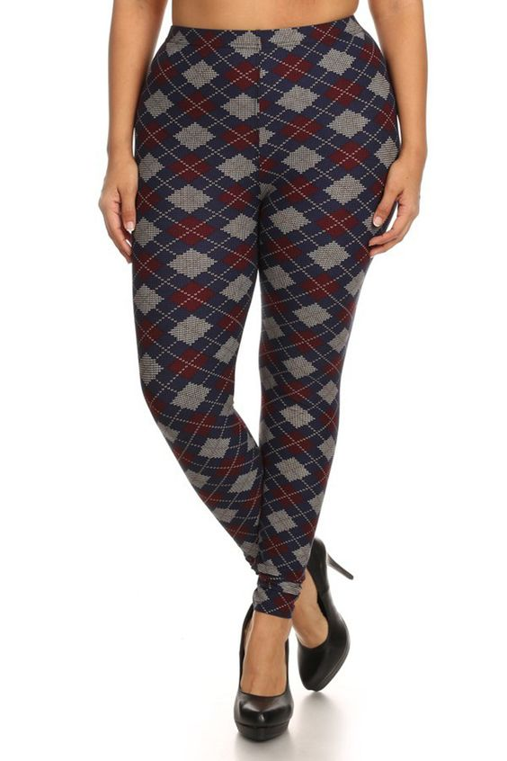 Navy Burgundy Argyle Design Plus Size Leggings | Products, Plus ...