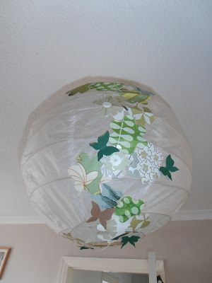 Crafty Bitch Paper lamp shade lantern with flower and butterflies!