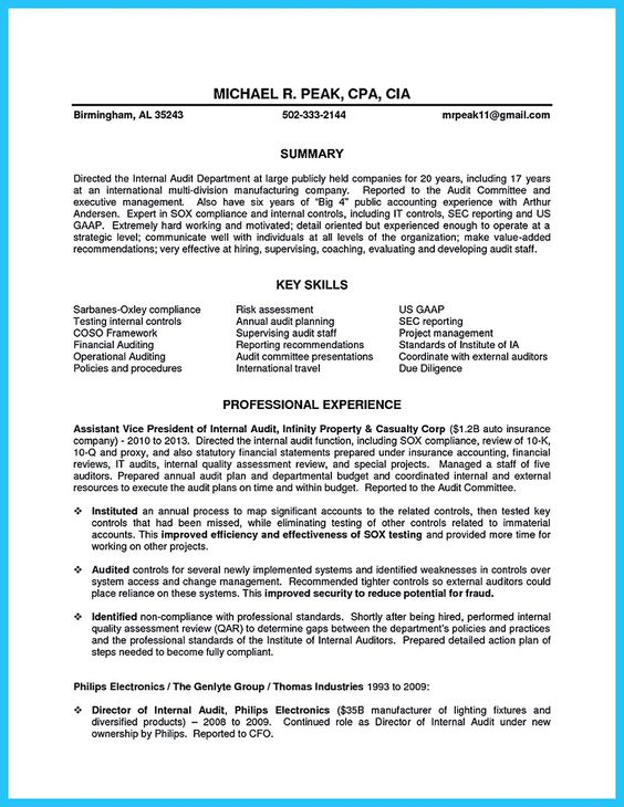 An audit resume is quite important to learn as you are about to - sox auditor sample resume