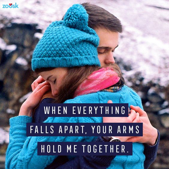 Love quotes for her: Sometimes all we need are those two loving arms to hold us together. ⠀ ⠀ When everything falls apart, your arms hold me together. #hug #lovingarms #inyourarms #romanticquote #lovequote #lovequotesandsayings