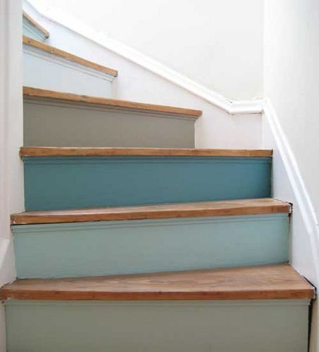 Wood Stairs Painted Risers: Painted Stairs: Risers In Multiple Shades Of Blue.