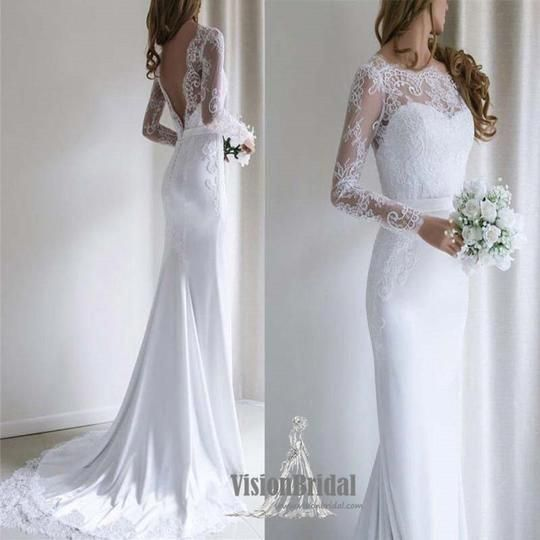 Alluring Pure White Sweetheart Long Sleeve With Lace Embroidery V Back Mermaid Wedding Dress With Trai Aline Wedding Dress Long Wedding Dresses Wedding Dresses