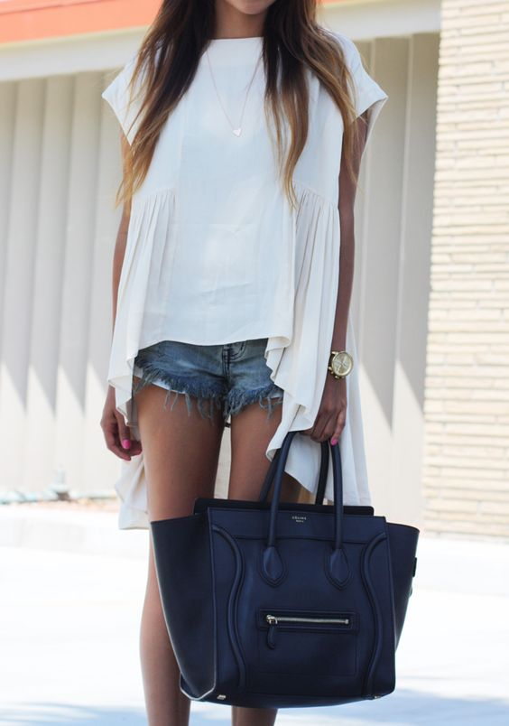 flowy cream top, short shorts and a great bag