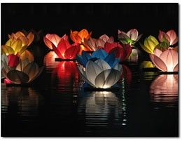 Traditionally Lotus lanterns are commonly used for the Thai Loi Krathong Festival - guests are asked to ignite a flame and cast the vessel adrift with a wish for the coming year. I like this tradition. Plus, it will make my party so pretty!