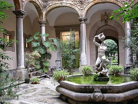 (Greek) courtyard full of plants