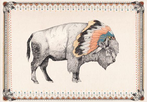 Bison Art Print / Sandra Dieckmann