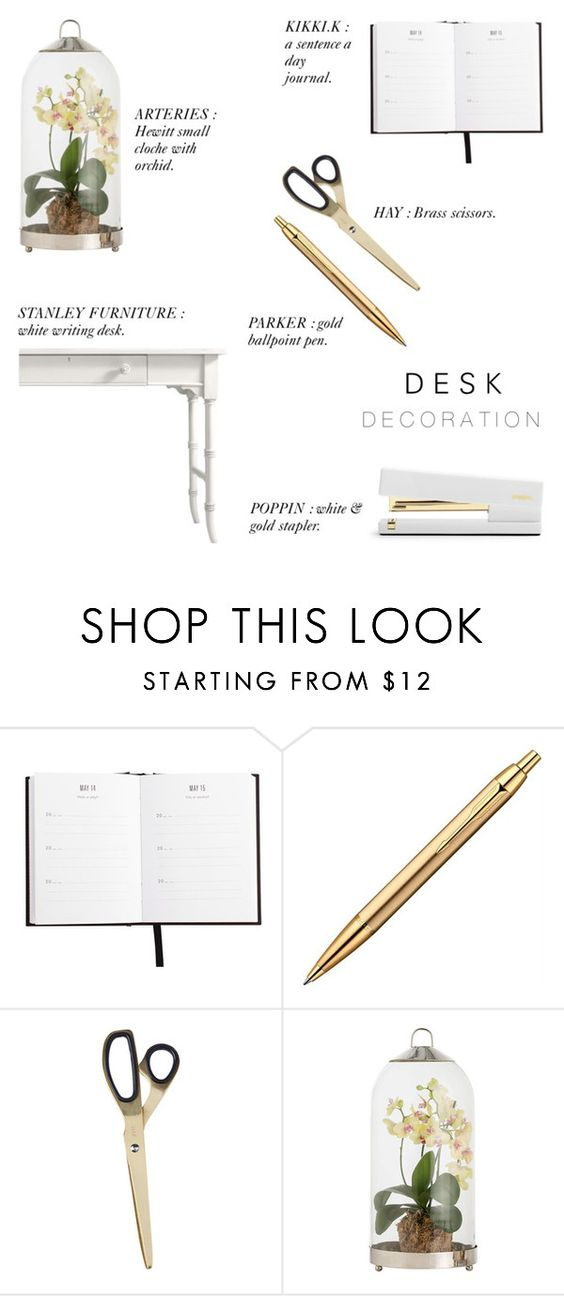 """Desk Decoration '16"" by rachaelselina ❤ liked on Polyvore featuring interior, interiors, interior design, home, home decor, interior decorating, HAY, Arteriors, Stanley Furniture and onmydesk"