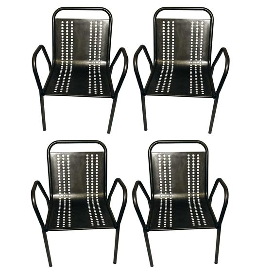 Set of 4 French Industrial Lounge Chairs | From a unique collection of antique and modern lounge chairs at https://www.1stdibs.com/furniture/seating/lounge-chairs/