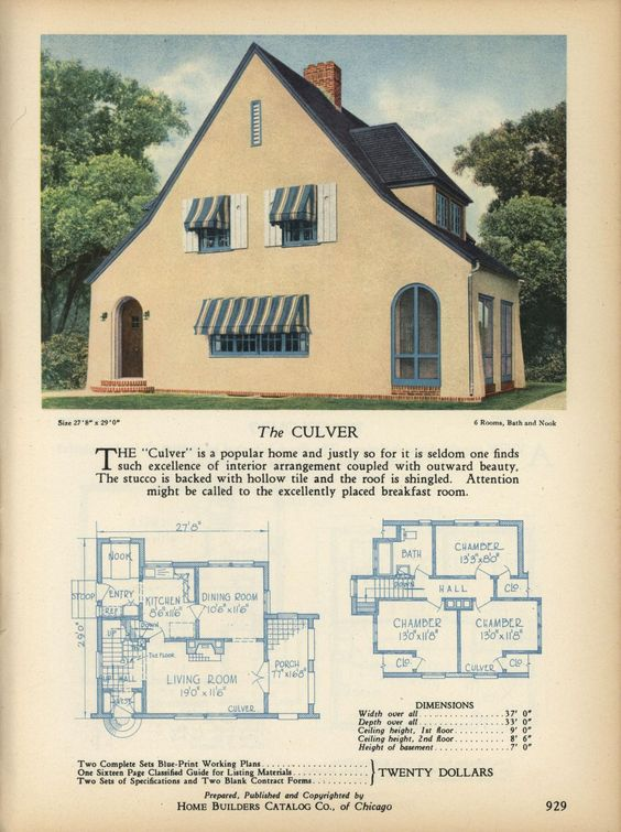 The CULVER - Home Builders Catalog: plans of all types of small homes by Home Builders Catalog Co.  Published 1928